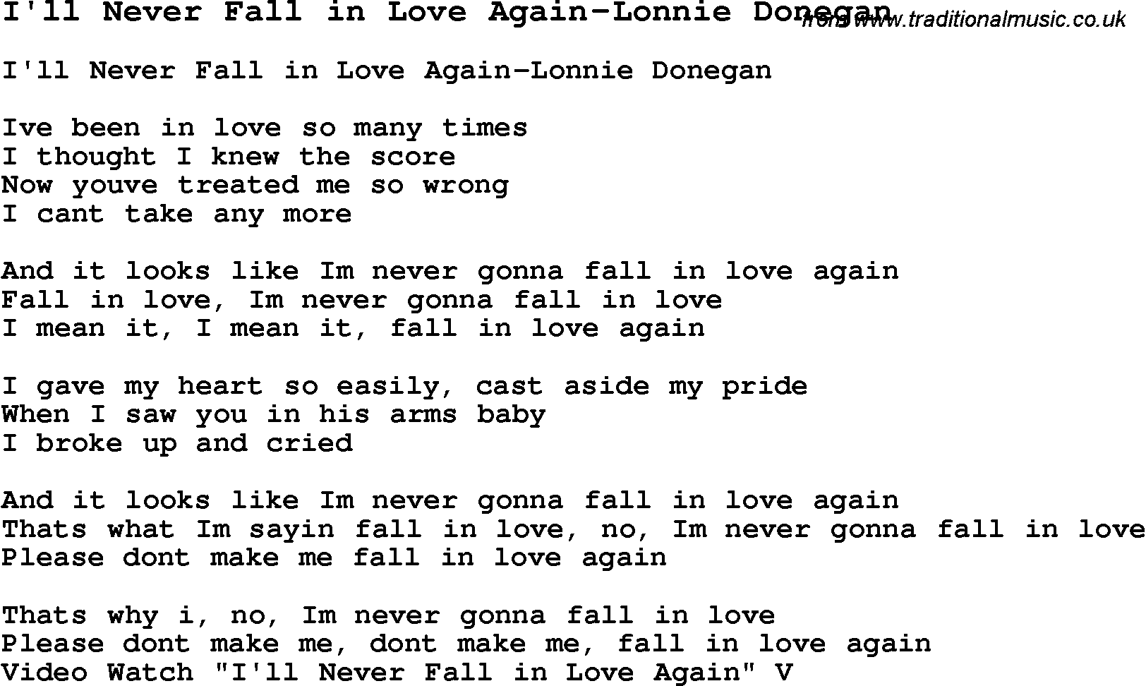 Skiffle Lyrics For Ill Never Fall In Love Again Lonnie Donegan