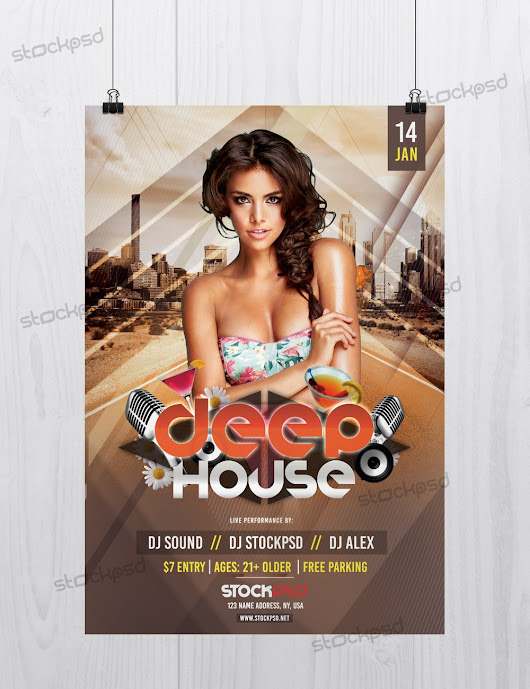 Deep House - Download Free PSD Flyer Template