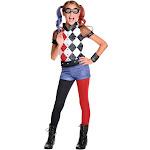 Rubie's Costume DC Superhero Girl's Deluxe Harley Quinn Costume, Black/White/Red