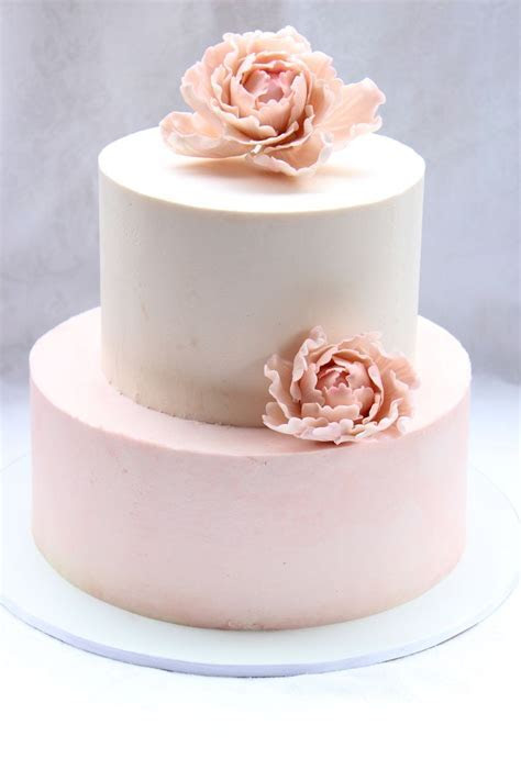 pink color blocked buttercream wedding cake with sugar