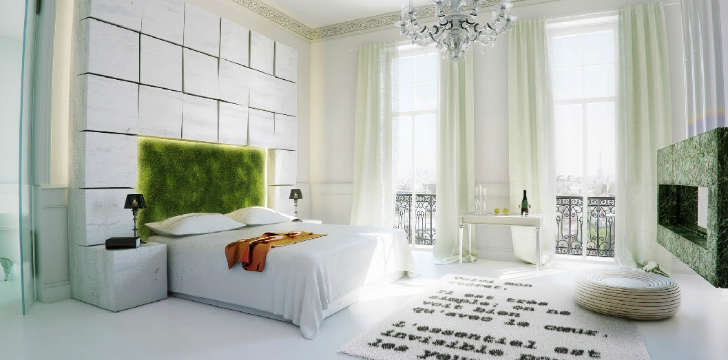 Nature Inspired Bedroom Moss Headboard Interior Design Ideas