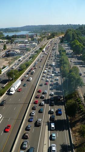 Traffic on Freeway Portland Tram