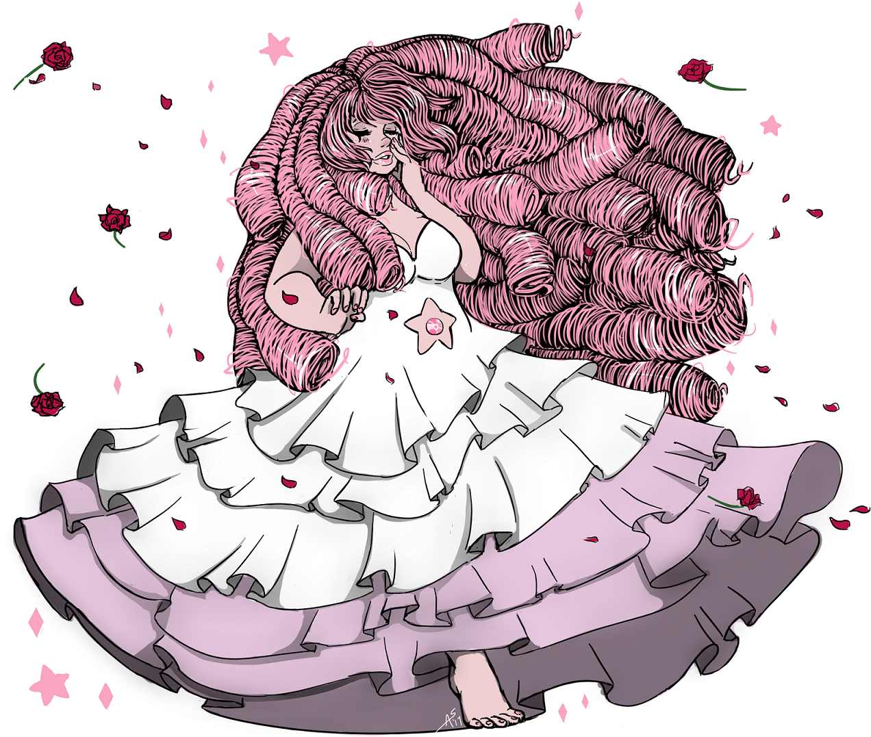 Cleaned up and colored that Rose Quartz sketch. I was thinking of Usagi/Serenity when drawing the dress. I put a lot more time into this than I planned… I have a project I should work on… 9w9;;