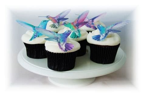 Edible CAKE TOPPERS Hummingbirds   12 Cupcake Toppers