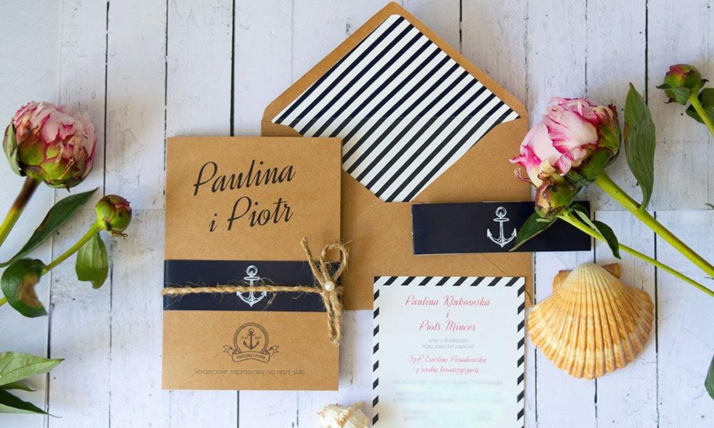 Marina Zaproszenia ślubne W Morskim Stylu Blog U Nas Znajdziesz
