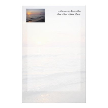 Sunset Beach Waves, Serene and Peaceful Coast Personalized Stationery