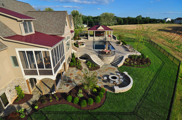 Frederick residential landscape aerial view Traditional