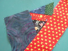 Block covered with fabric scraps