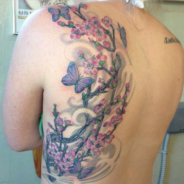 60 Pretty Cherry Blossom Tattoos For Back