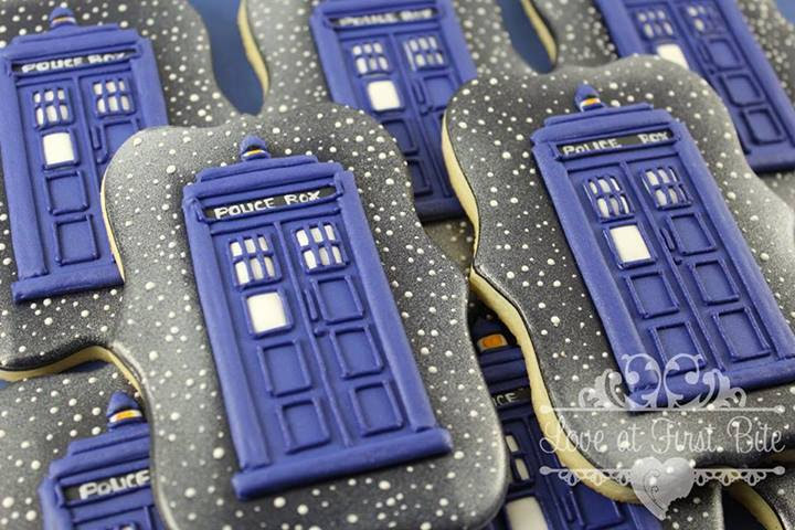 Doctor Who Tardis cookies by LoveAtFirstBite
