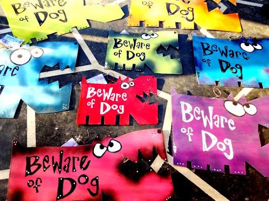 Beware of Dog Signs: Custom Colors and Sizes LARGE SIZE by Rynski