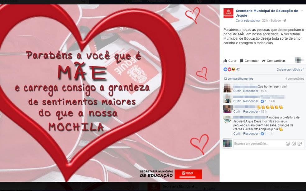 Mensagem foi publicada em rede social da Secretaria Municipal de Educação de Jequié (Foto: Reprodução/ Facebook)