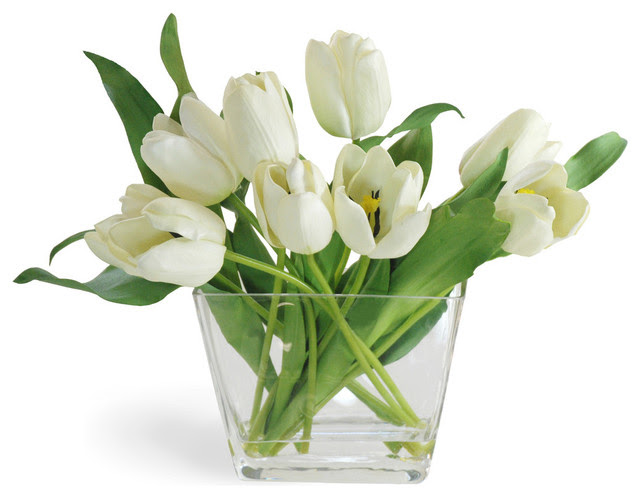 Tulip In Glass Flower Arrangement, White  Traditional  Artificial Flowers Plants And Trees