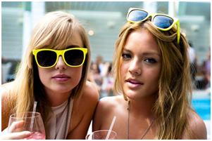 Retro Sunglasses - Women Wearing Retro Sunglasses
