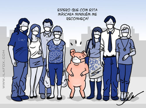tirinha da gripe suína H1N1 swine flu by ila fox