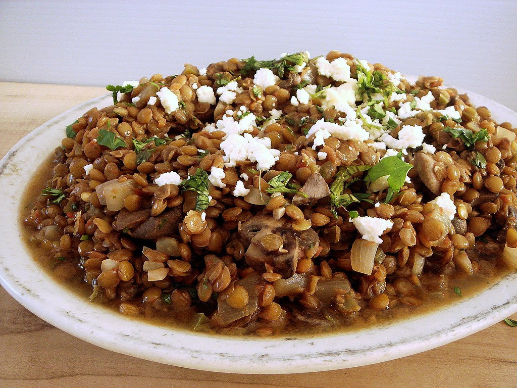 lentils with jalapenos, cilantro, and queso fresco
