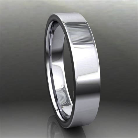 archer ring   men's 14k white gold wedding band, brushed