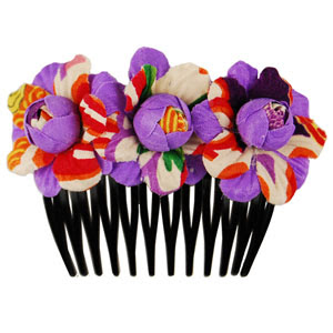 Rose hair comb - purple