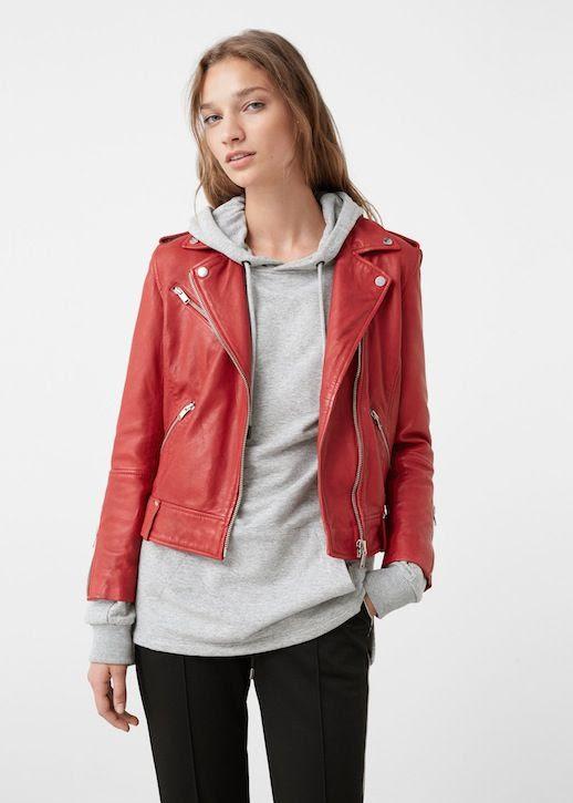 Le Fashion Blog Red Leather Jacket Grey Hoodie Black Pants Via Mango