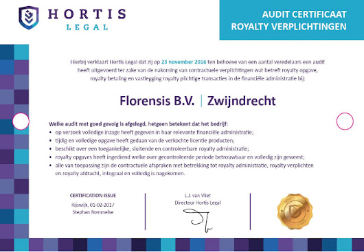 Florensis is awarded Hortis Legal 'Audit Certificate Royalty Obligations'