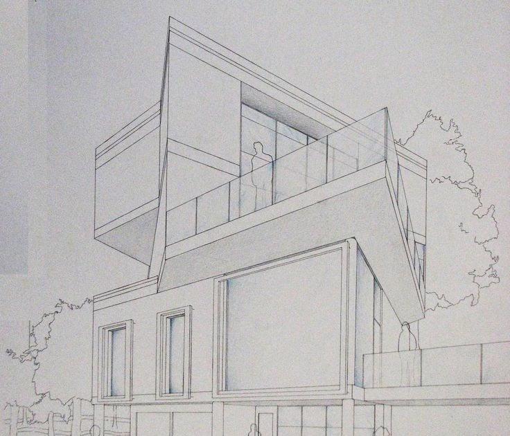 Gambar Rumah Perspektif Dua Titik Hilang Sekitar Rumah