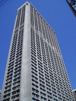 The residential tower of the Manulife Centre c...