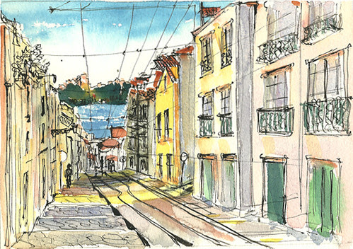 View toward the water, Rua da Bica, Lisbon, Portugal
