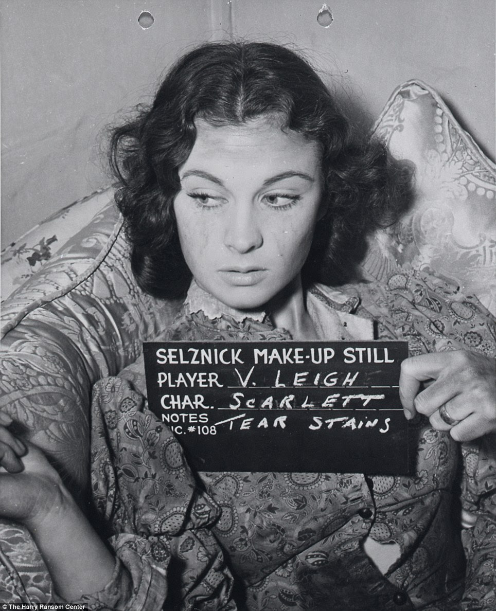 Picture perfect: Vivien Leigh, who played Scarlett O'Hara, is seen here testing out tear stains