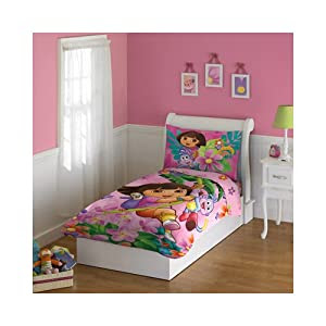 Amazon.com - Dora the Explorer 4-Piece Toddler Bedding Set - Dora