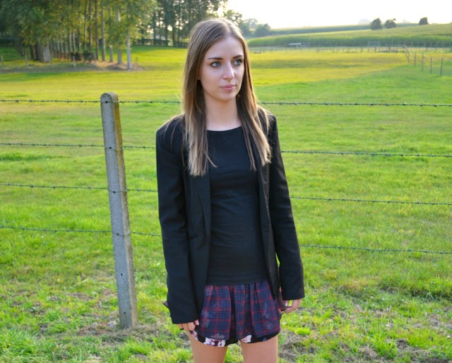zara double layer skort skirt shorts flower checkered print bershka blazer h&m divided boots biker outfit outfitpost fashion blogger turn it inside out belgium inspiration