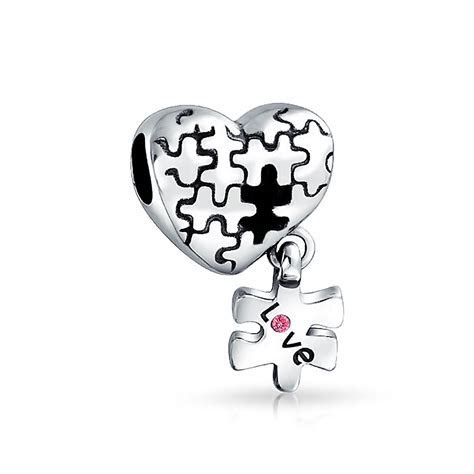 925 Silver Pink Crystal Love Puzzle Heart Dangle Bead Fits