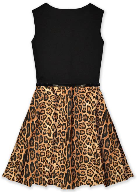 girls animal print skater dress kids party dresses