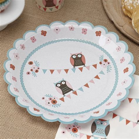patchwork owl party paper plates by ginger ray