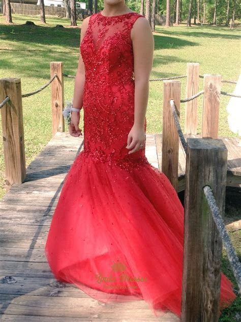 Red Lace Bodice Drop Waist Tulle Mermaid Prom Dress With