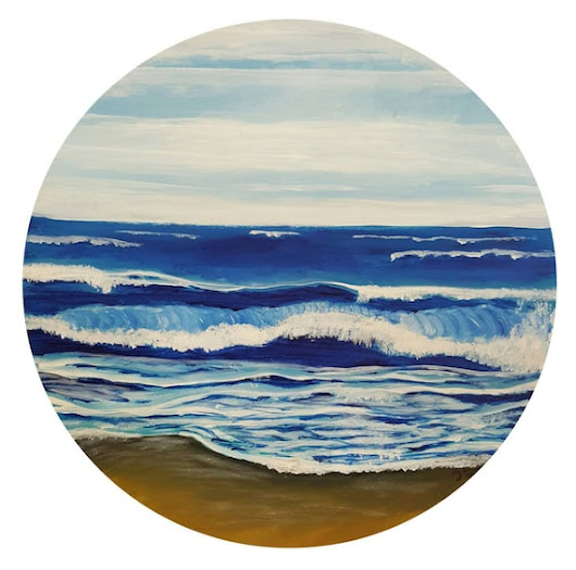 Round Ocean Painting Nautical Artwork Seascape on by LizWaeltzArt