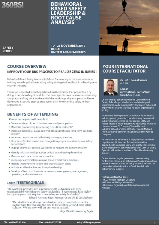 Behavioral Based Safety Leadership & Root Cause Analysis, 19 - 23 Nov…