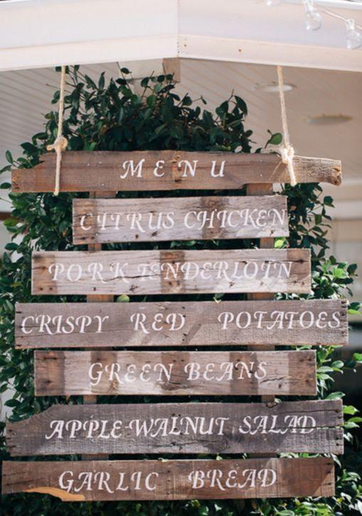 Love this rustic barn wood wedding menu display sign.  #wedding #signs
