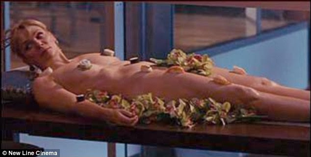 The original scene: Chloe was imitating SATC's Samantha who covered herself in sushi on Valentines Day