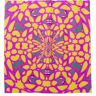Hot Pink & Sun Kaleidoscope Shower Curtain