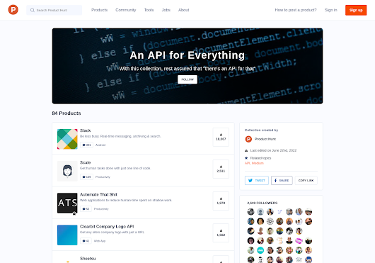 "An API for Everything - With this collection, rest assured that ""there's an API for that"" by Product Hunt"