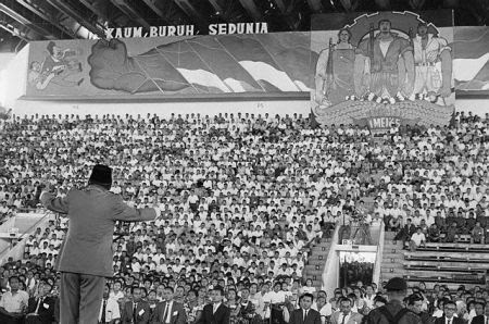 President Sukarno of Indonesia addresses a mass May Day