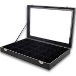 """Black Velvet Jewelry Display - Ring and Earring Organizer - Divided Tray Stores Rings, Cuff Links, Stud Earrings - 14"""""""