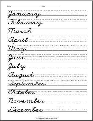 February In Cursive : february, cursive, February, Cursive