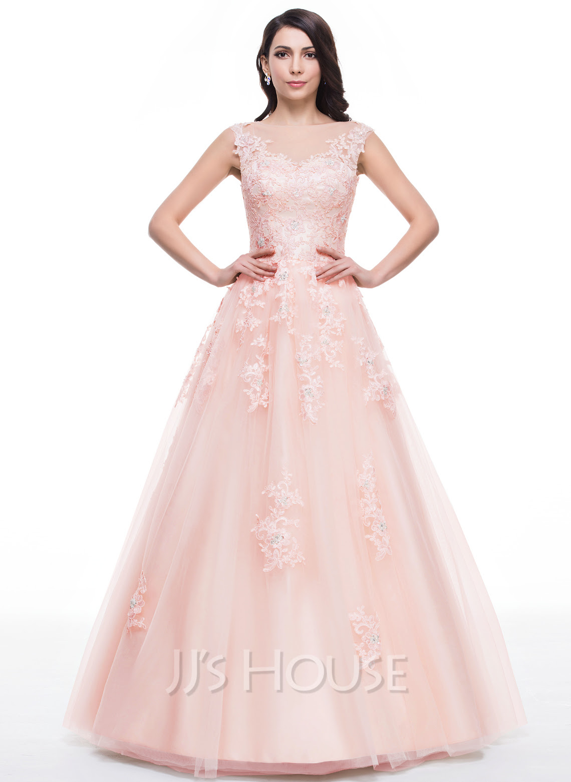 Ball-Gown Scoop Neck Floor-Length Tulle Prom Dress With Lace Beading Sequins (018059416) - JJsHouse