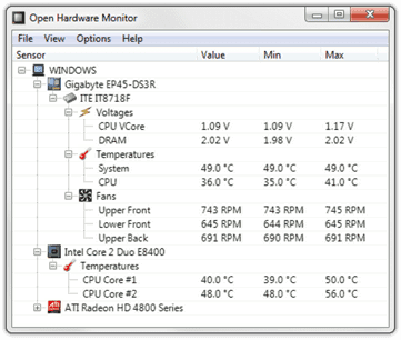 CPU Temp, Fan Speeds, Mainboard Voltages, GPU Sensors and Hard Disk Temperatures of a PC