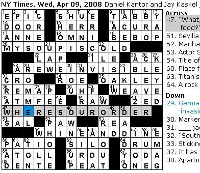 Rex Parker Does The NYT Crossword Puzzle WEDNESDAY Apr 9 2008