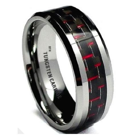 Red Carbon Inlay Mens Tungsten Carbide Wedding Engagement