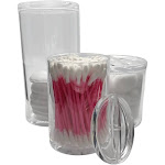 Evelots Cotton Balls-Swabs-Qtips-Make Up Pads-Acrylic Container with 3 Lids, Clear