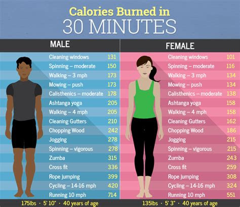 calories burned   minutes male  female fitneass