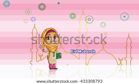 Eid Mubarak And Ramadan Mubarak With A Muslim Girl Cartoon In Front Of Mosque And Colorful Fireworks And Pinkbar Glittering With White Background  Stock Photo 433308793 : Shutterstock